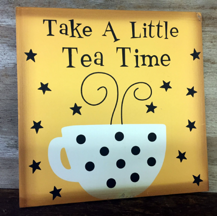 Take A Little Tea Time ~ Kitchen Tea Cup Wooden Polka Dot Sign